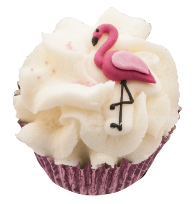 Triple cupcake flamingo